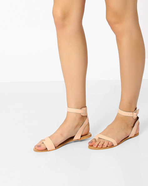 Faux-Leather Flat Sandals With Ankle Strap By AJIO ( Nude )