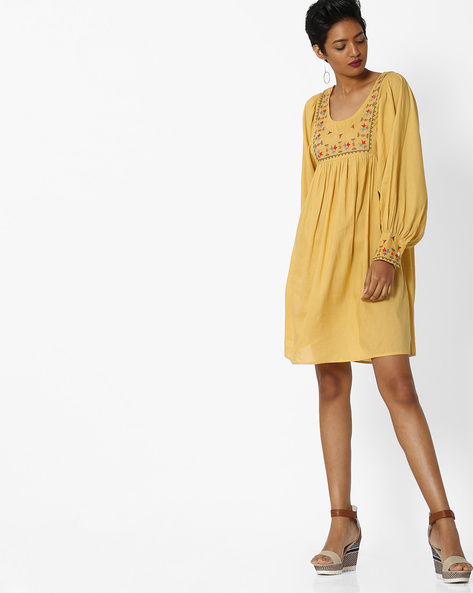 Embroidered A-line Dress With Bishop Sleeves By Rena Love ( Mustard )