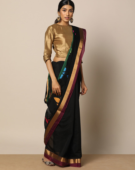 Mercerised Cotton Buti Saree With Woven Pallu By Indie Picks ( Black )
