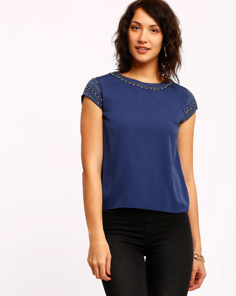 Embellished Top By Oxolloxo ( Blue )