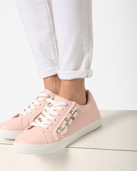 Lace-Up Sneakers With Embellishments By Truffle Collection ( Beige )