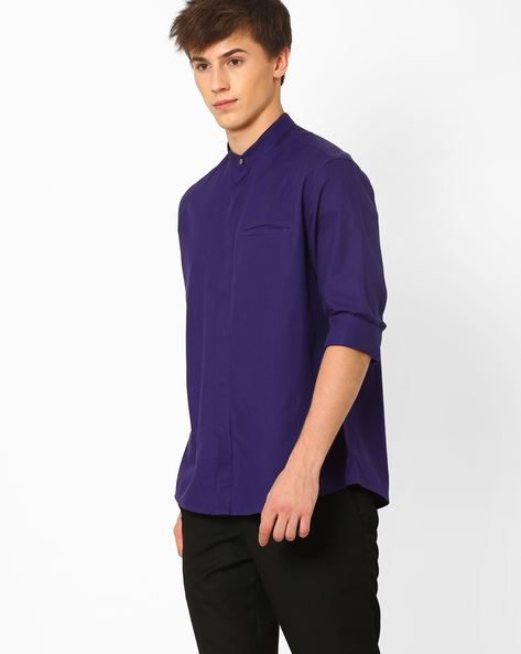 Regular Fit Shirt With Mandarin Collar By NETWORK ( Purple )