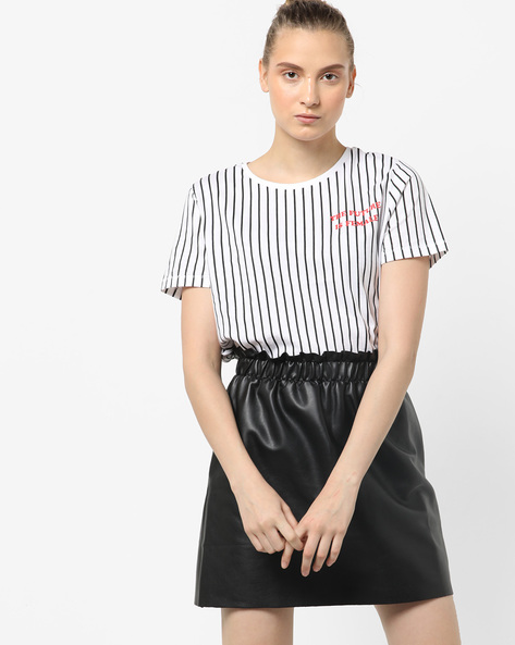 Striped T-Shirt With Typographic Print By Only ( White )