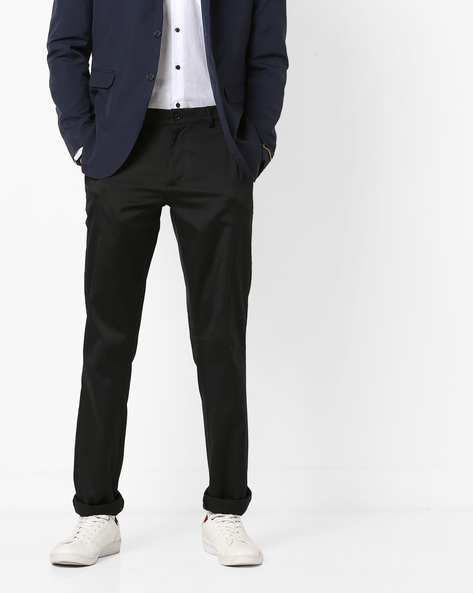 Mid-Rise Flat-Front Trousers By NETWORK ( Black )