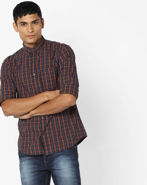 Checked Button-Down Collar Shirt By AJIO ( Orange )