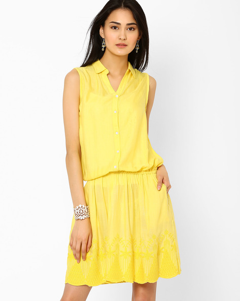 Blouson Dress With Embroidered Hem By AJIO ( Yellow )
