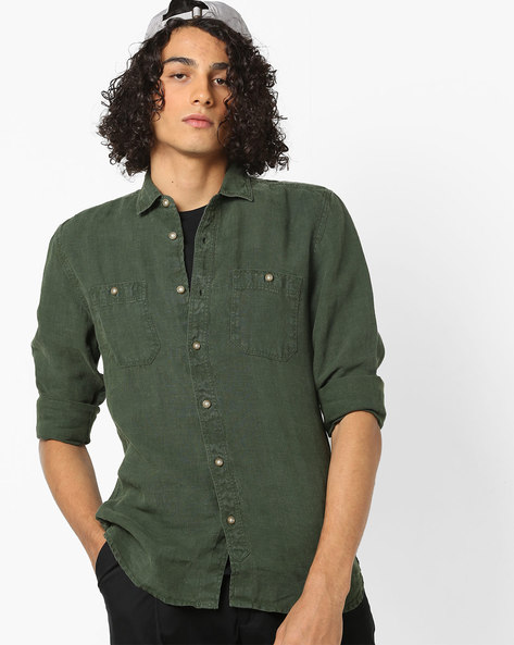 Slim Fit Shirt With Curved Hemline By Jack & Jones ( Green )