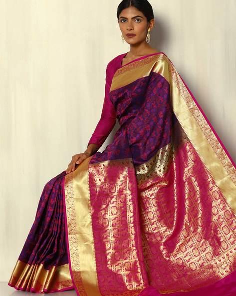 Kanchipuram Style South Silk Saree With Zari Border By Pretty Woman ( Purple )