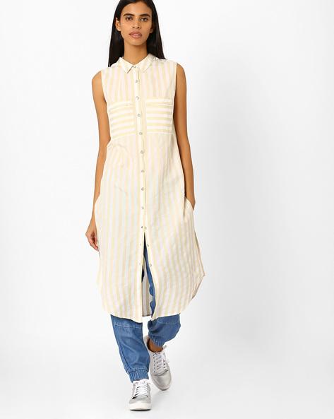 Striped Dress With Patch Pockets By AJIO ( Ivory )