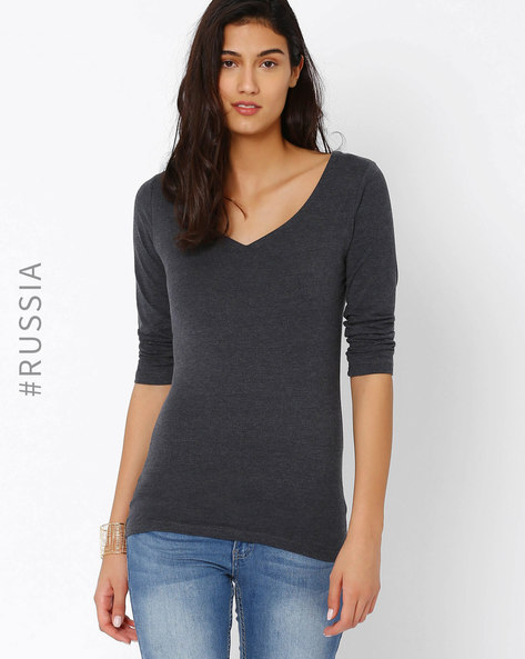 Deep V-neck T-Shirt By Kira Plastinina ( Grey )