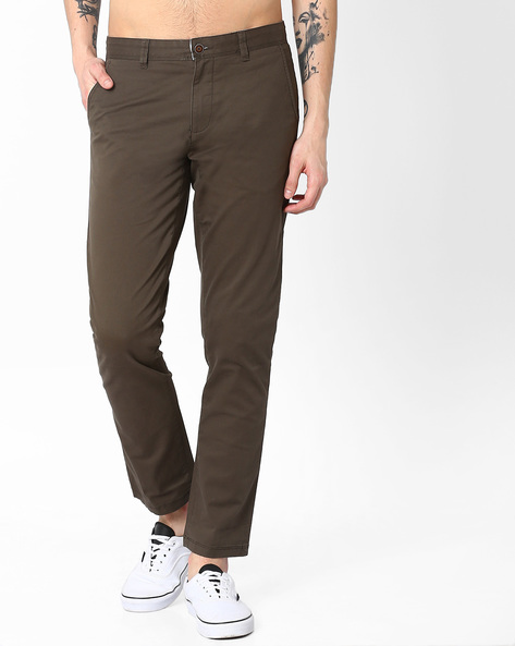 Mid-Rise Slim Fit Stretch Chinos By AJIO ( Olive )
