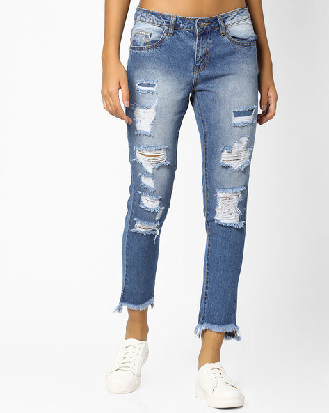 Distressed Jeans With Frayed Hems By AJIO ( Blue )