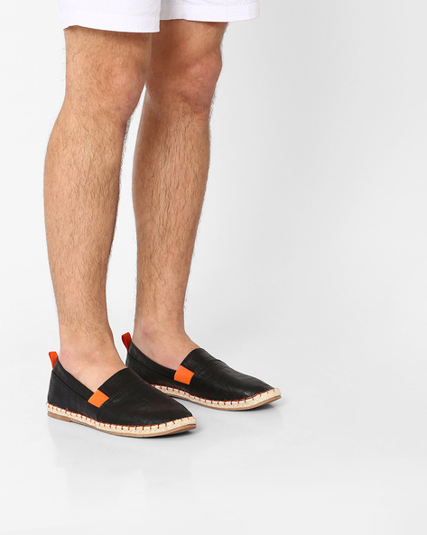 Faux Leather Espadrilles With Reptilian Texture By AJIO ( Black )