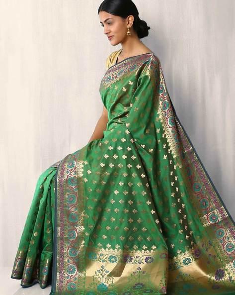 Banarasi Woven Zari Cotton Silk Saree By Indie Picks ( Green )