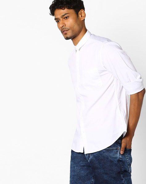 Trim Fit Shirt With Curved Hem By JOHN PLAYERS ( White )
