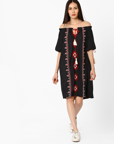 Off-Shoulder Embroidered Dress With Tie-Up By Rena Love ( Navyblue )