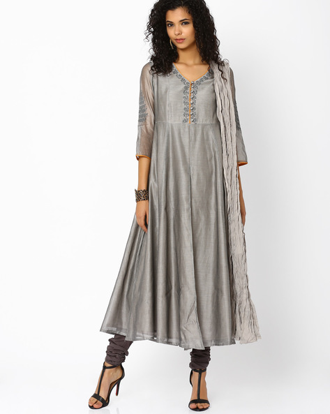 Anarkali Churidar Kurta With Dupatta By AJIO ( Grey )