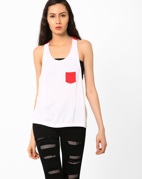 Tank Top With Contrast Pocket By TEAM SPIRIT ( Red )