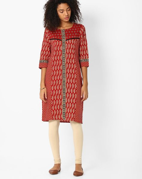Printed Straight Kurta By SIYAHI ( Red )