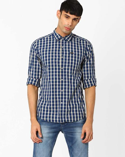 Checked Slim Fit Shirt By Lee ( Indigo ) - 460029226004