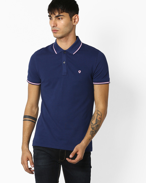 Slim Fit Polo T-shirt By Celio ( Navy ) - 460048974033