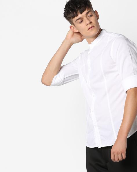 Slim Shirt With Mandarin Collar By AJIO ( White )
