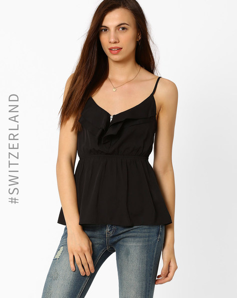 Spaghetti Top With Ruffles By TALLY WEiJL ( Black )