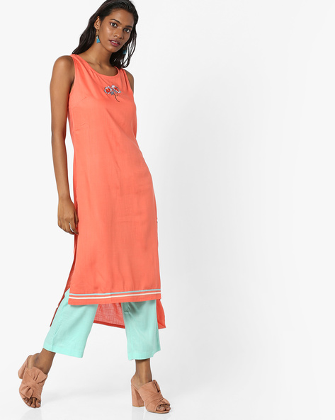 Sleeveless Kurta With Palazzo Pants By AJIO ( Coral )