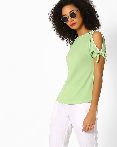 Cold-Shoulder Top By And ( Green )