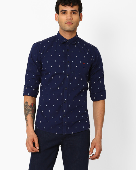 Printed Slim Fit Shirt By CRIMSOUNE CLUB ( Black ) - 440725453003