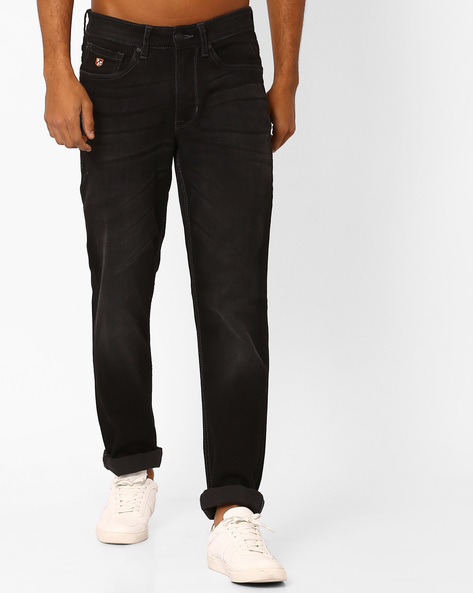 Slim Tapered Mid-Rise Denims By US POLO ( Black )
