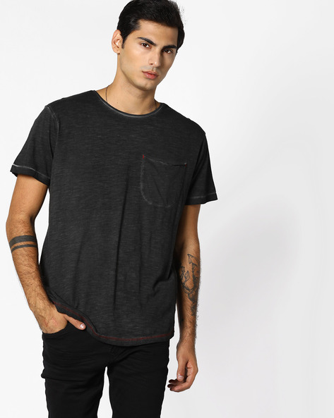 Slub-Knit T-shirt With Patch Pocket By RINGSPUN ( Black )