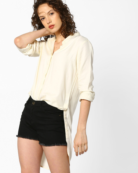 Shirt Tunic With Concealed Button Placket By PE WW Casual ( Offwhite )