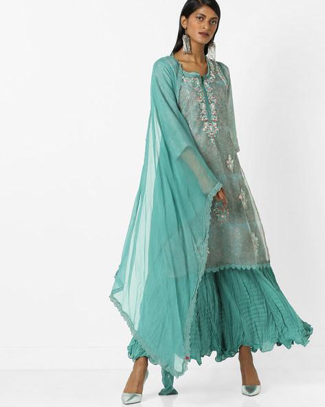 Double-Layered Sharara Kurta With Dupatta Set By Biba ( Turquoise )