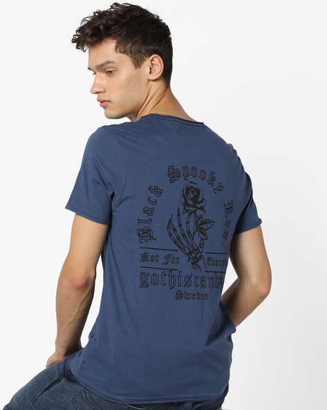 Cotton Graphic Print T-shirt By AJIO ( Blue )