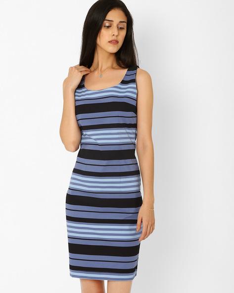 Striped Sheath Dress By AJIO ( Blue )