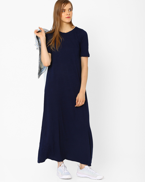 Maxi Dress With Back Tie-Up By CHEMISTRY ( Blue )