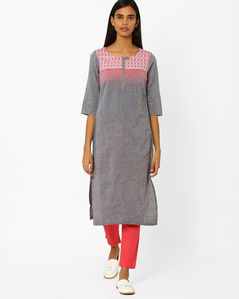 Printed Straight Kurta By AURELIA ( Ltblue )
