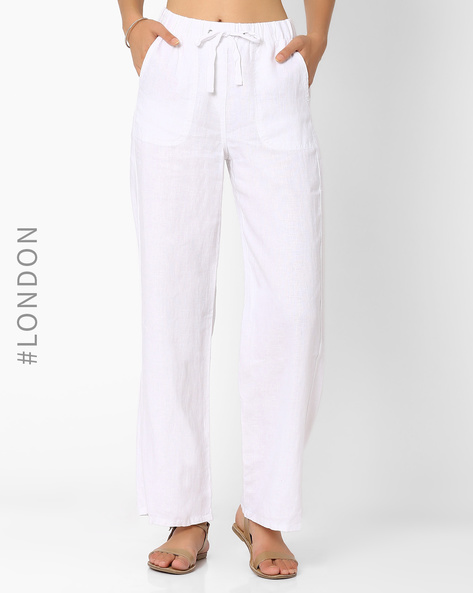 Pure Linen Wide-Leg Trousers By Marks & Spencer ( White )