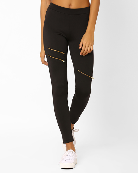 Leggings With Zip Detailing By AJIO ( Black )