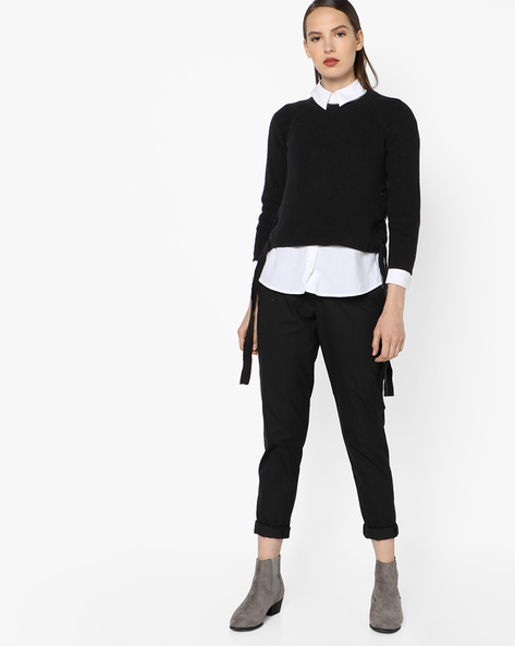 Knitted Sweater With Lace-up By AJIO ( Black )