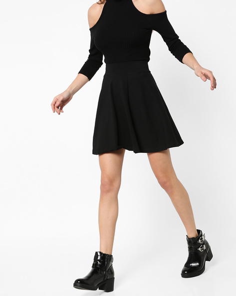 A-line Mini Skirt By Ginger By Lifestyle ( Black )