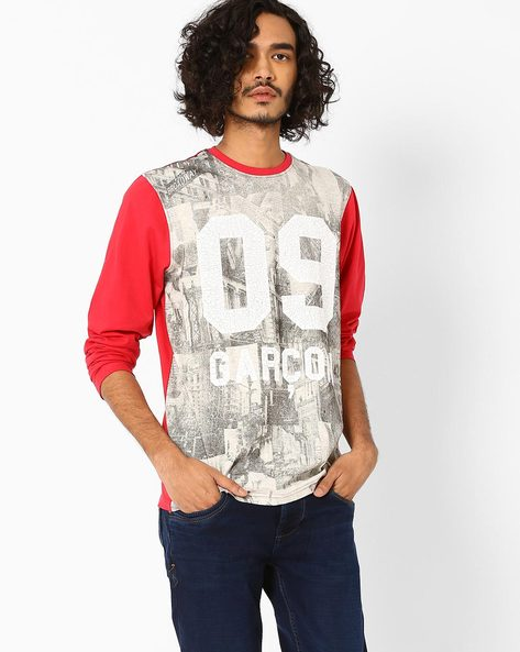 Full-Sleeve Graphic Print T-shirt By Garcon ( Red )