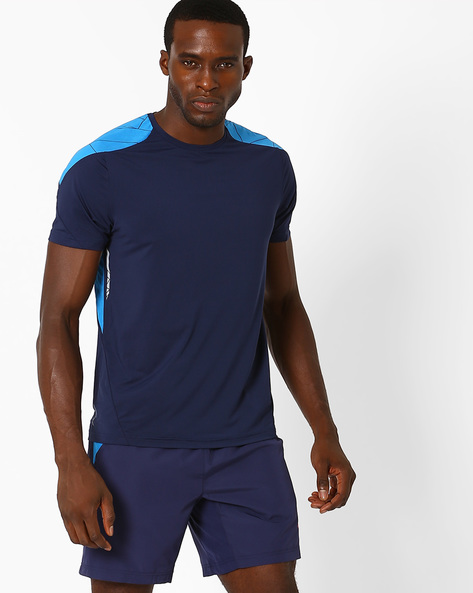 Printed Slim Fit T-shirt With Quick Dry By PERFORMAX ( Navy )