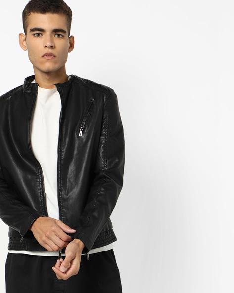 Slim Fit Biker Jacket By The Indian Garage Co ( Black ) - 460132106001