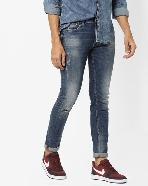 Super Slim Fit Distressed Jeans By ED HARDY ( Blue )
