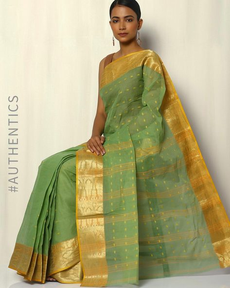 Bengal Handloom Tant Tangail Buti Cotton Saree By Indie Picks ( Green ) - 460093810001