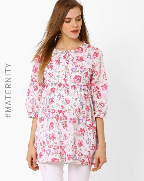 Floral Print Maternity Tunic By Oxolloxo ( Pink )