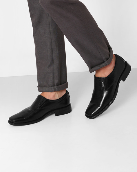 Leather Slip-On Formal Shoes By VALENTINO ( Black )
