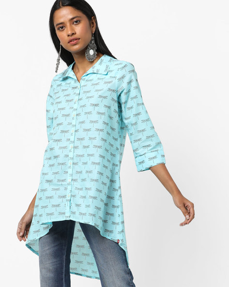 Printed Shirt Tunic With High-Low Hemline By Biba ( Turquoise )